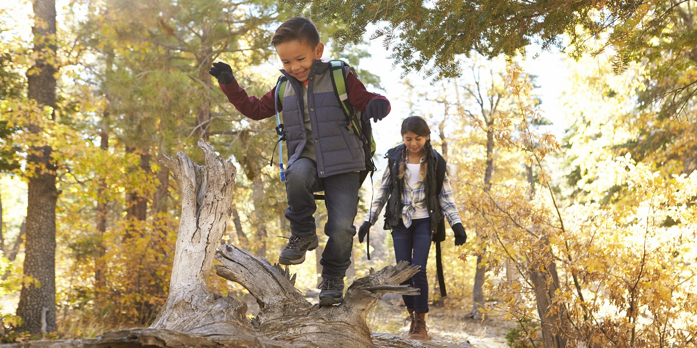 brother and sister enjoy family fun while hiking in the woods during the fall