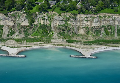 aerial view of Scarborough Bluffs