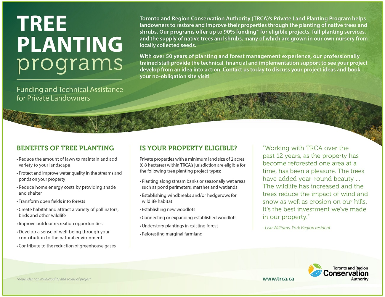 TRCA Private Land Tree Planting program flyer