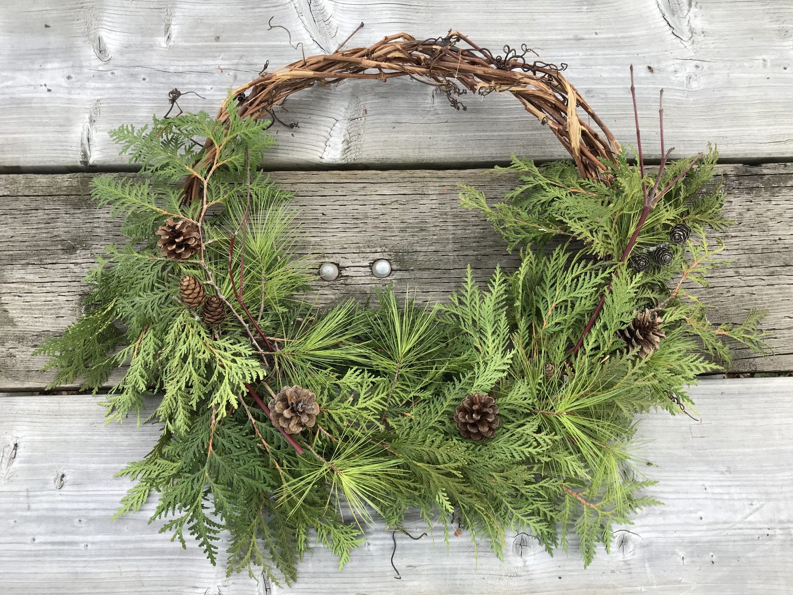Christmas wreath made from grapevine