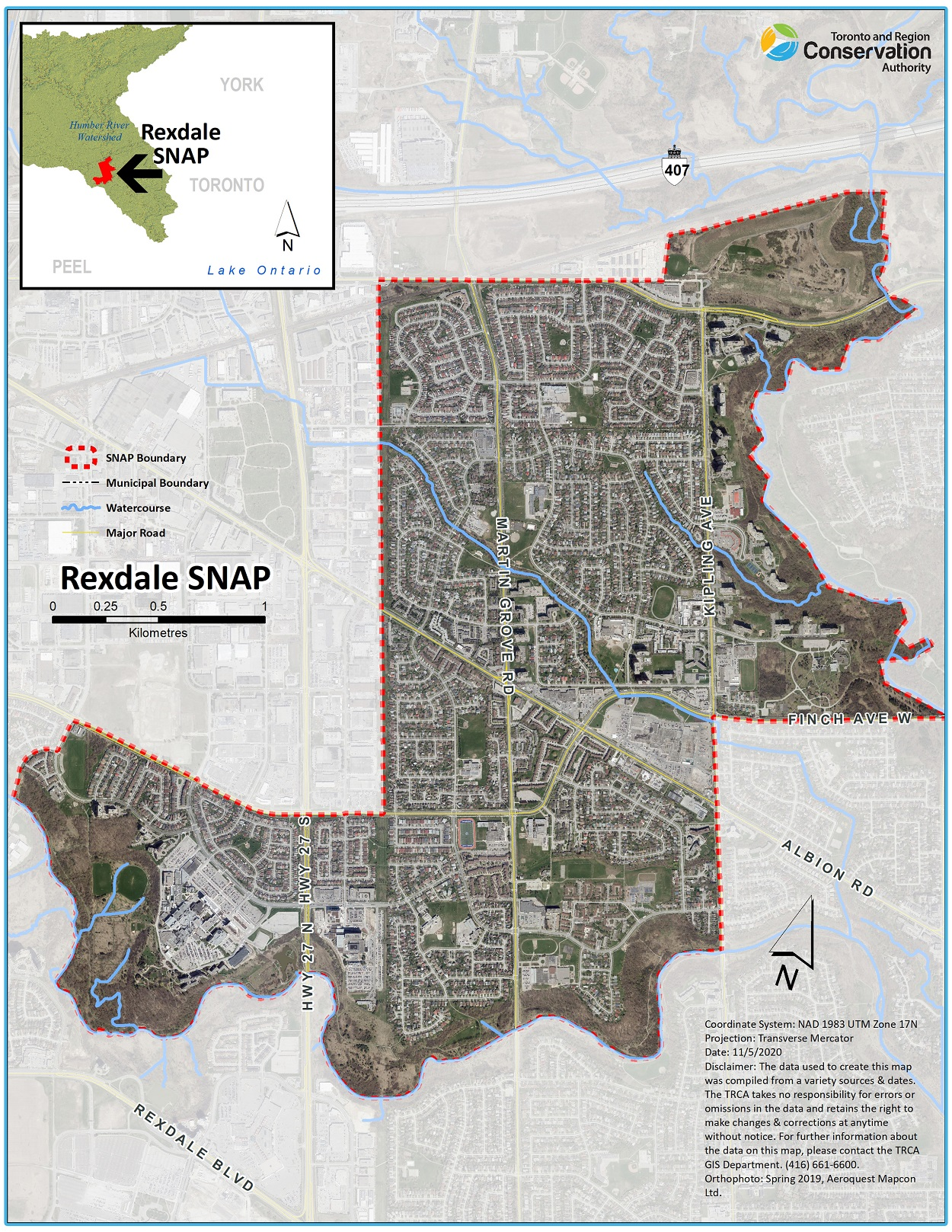 map of Rexdale SNAP area boundaries
