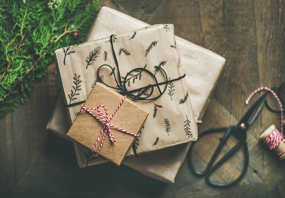 Christmas gifts in festive wrapping paper