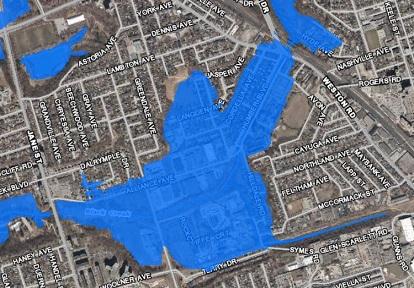 map of Rockcliffe-Smythe flood vulnerable area
