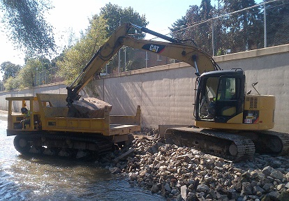 Dredging operation just downstream of Weston Road.
