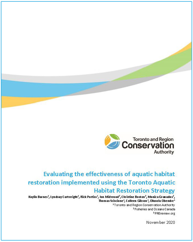 Evaluating the effectiveness of aquatic habitat restoration implemented using the Toronto Aquatic Habitat Restoration Strategy