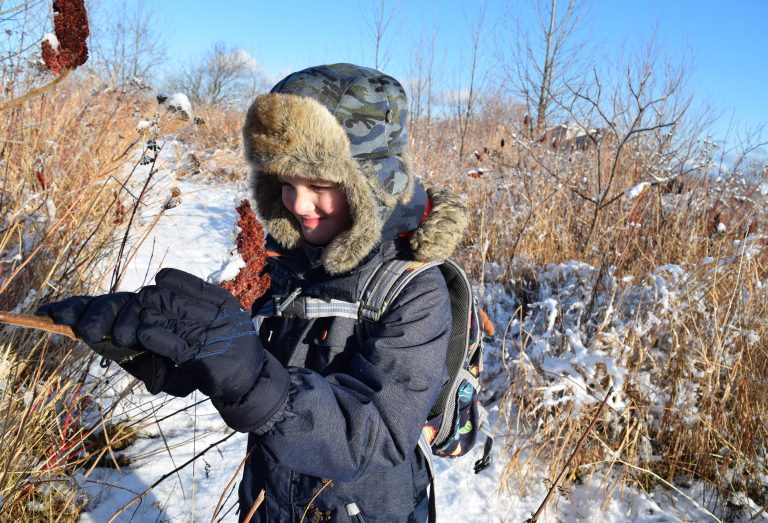 A student in nature during winter