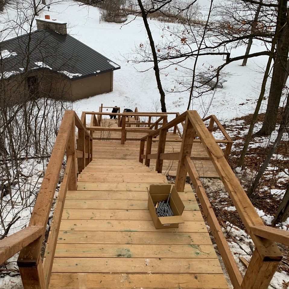 rebuilt staircase at Heart Lake Conservation Park